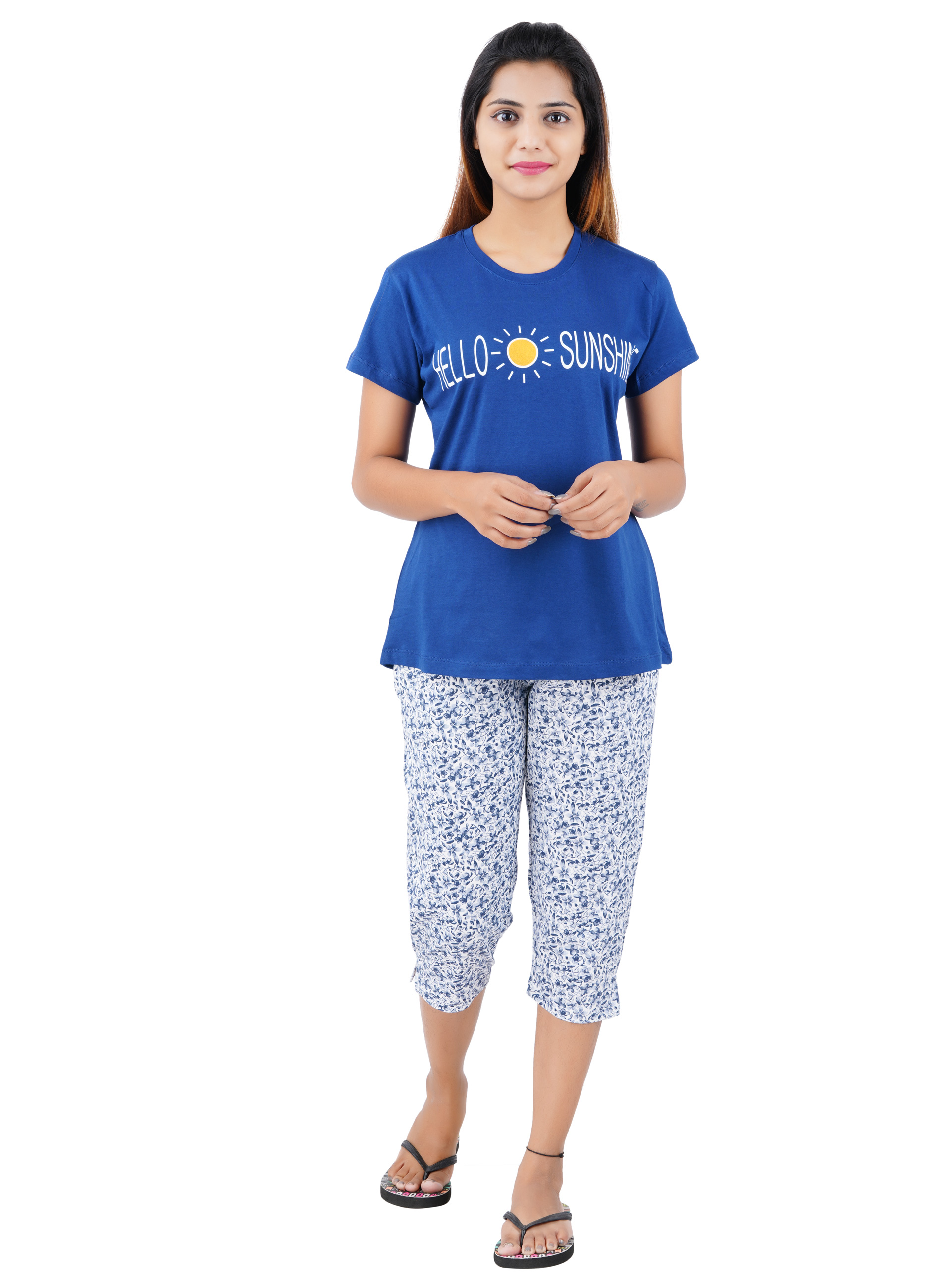 Aswati Blue 3/4 Full Set Capri - SunShine