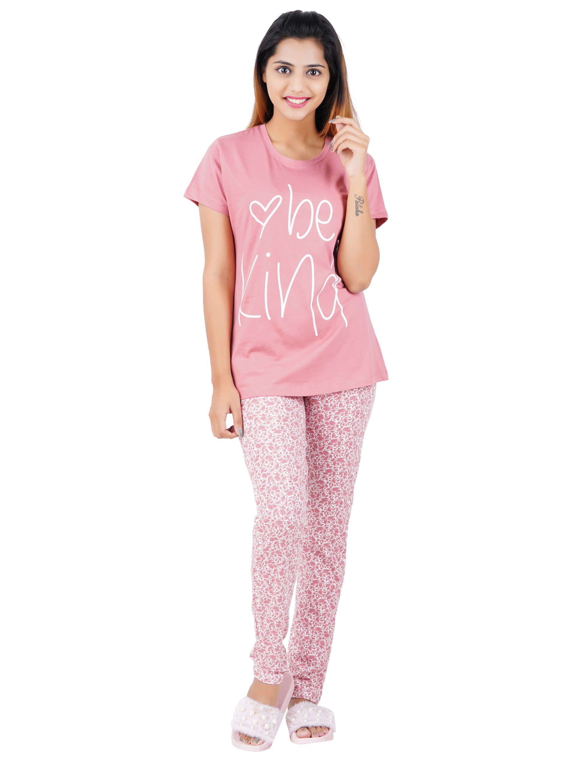 Aswati Pink Full Set Pyjama - Love Be Kind