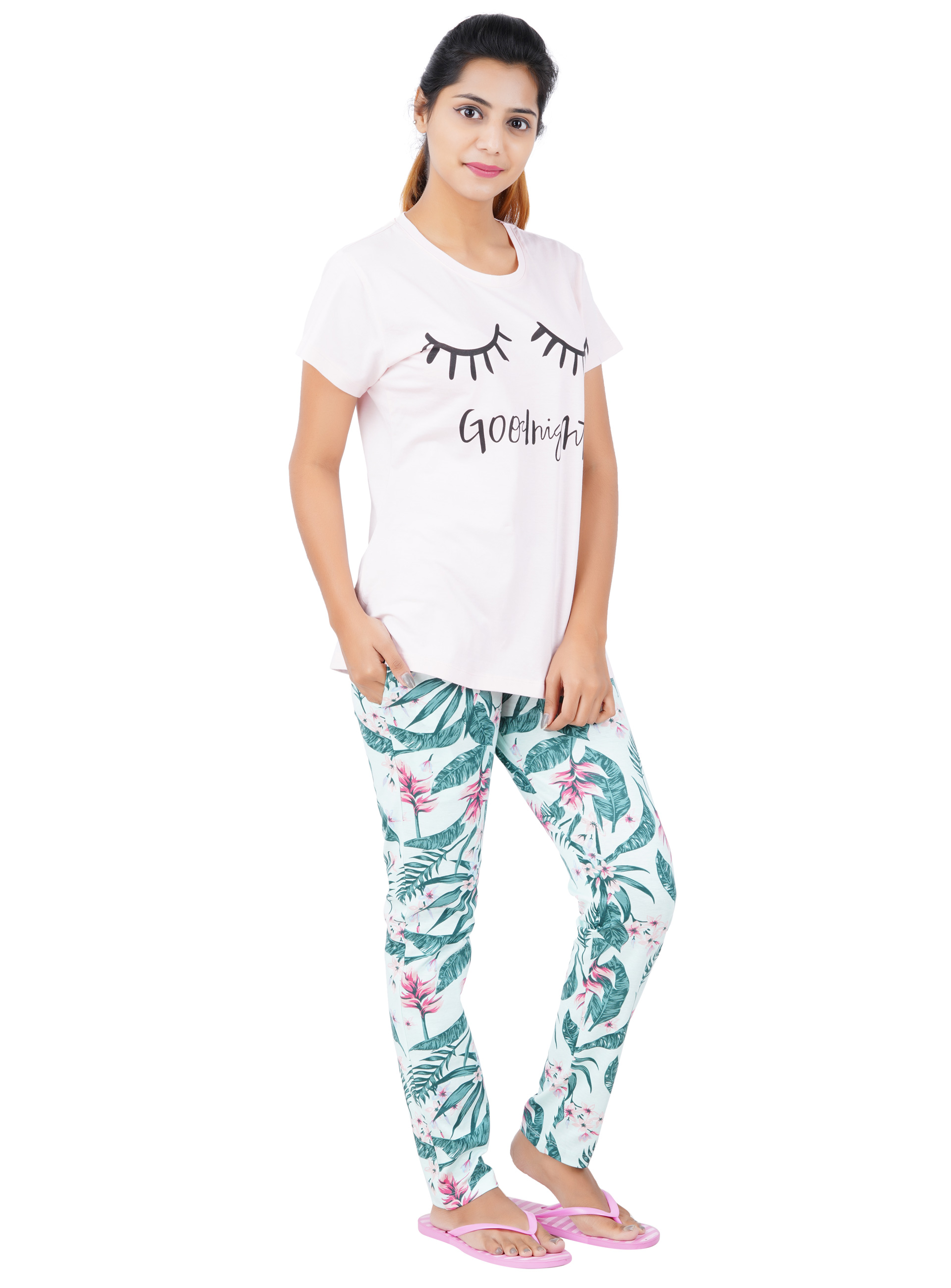 Aswati Pink Full Set Pyjama - Good Night