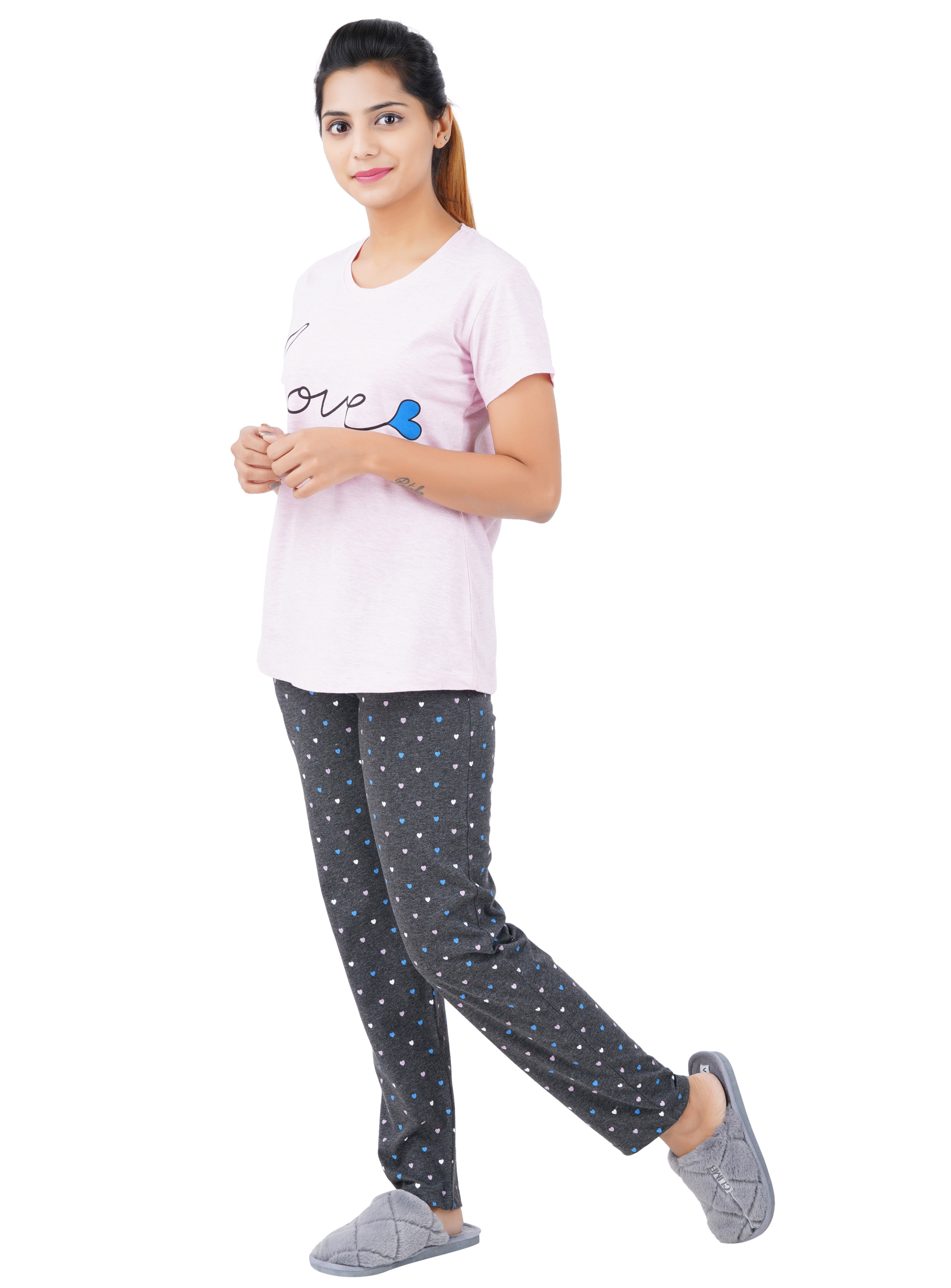 Aswati Pink Full Set Pyjama - Love