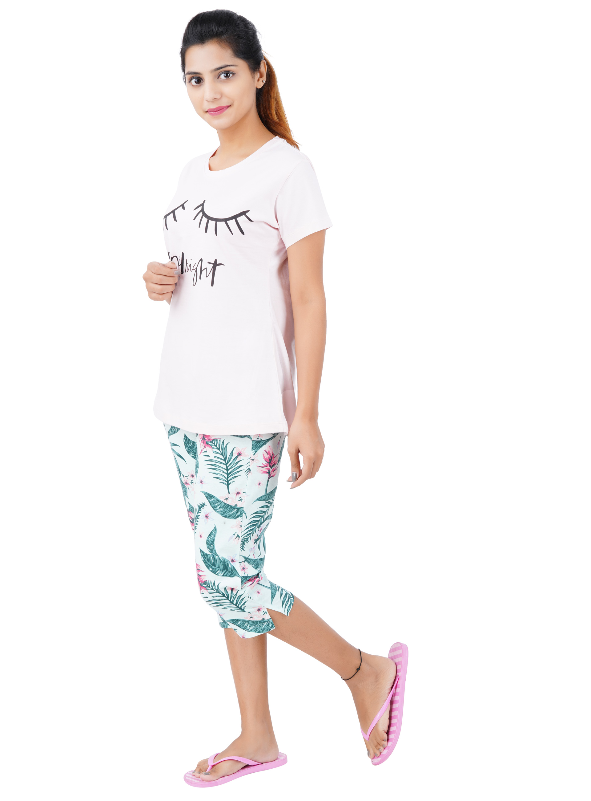 Aswati Pink 3/4 Full Set Capri - Good Night