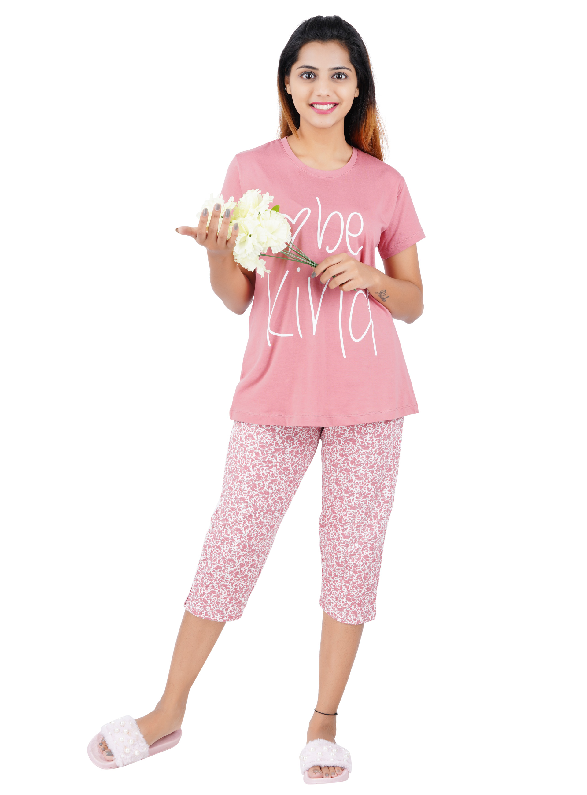 Aswati Pink 3/4 Full Set Capri - Love Be Kind