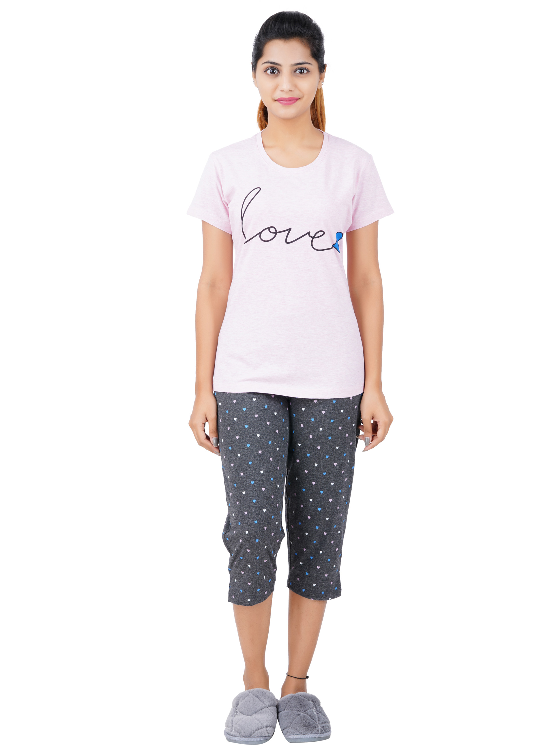 Aswati Pink 3/4 Full Set Capri - Love