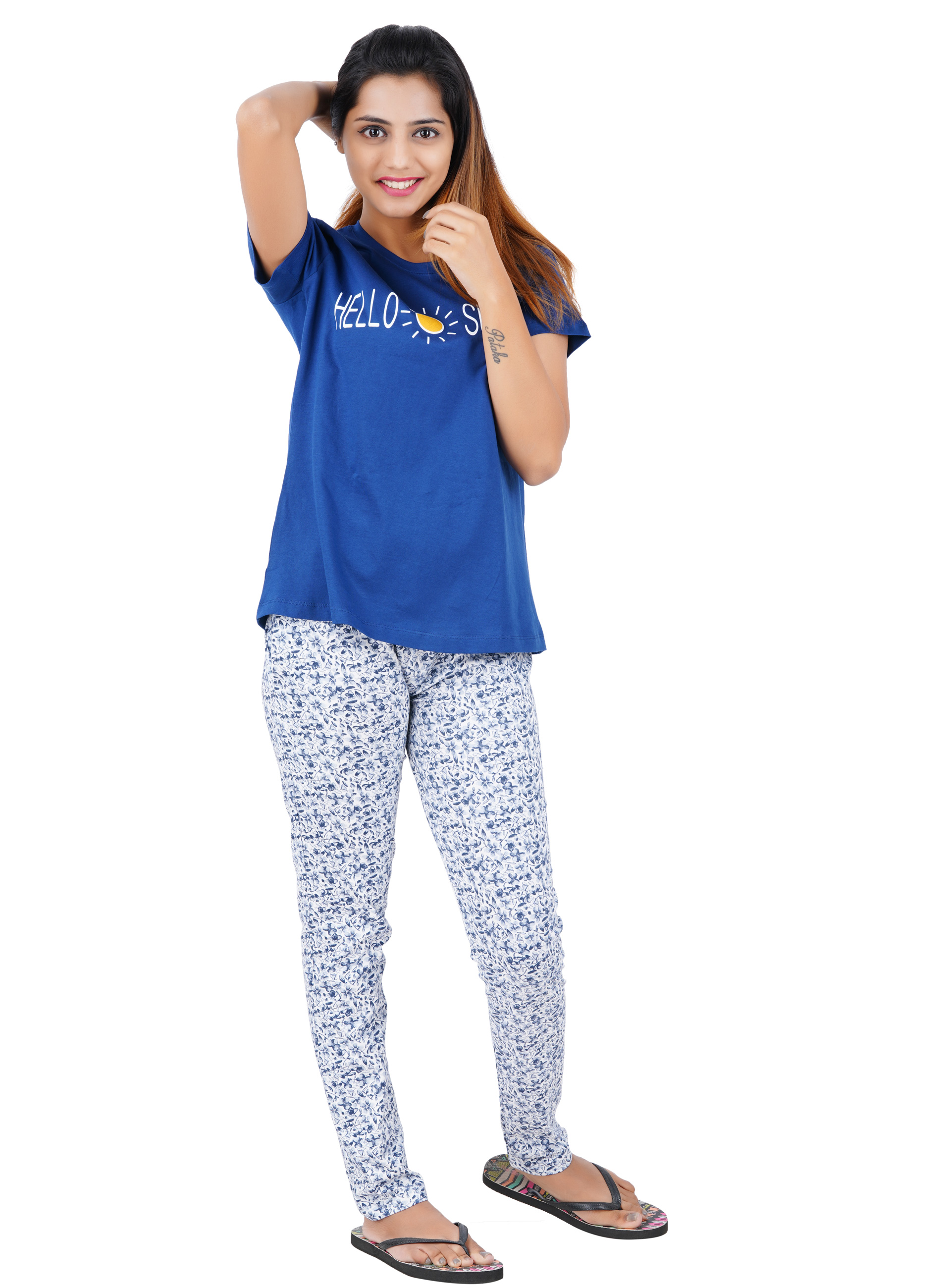 Aswati Blue Full Set Pyjama - Hello Sunshine