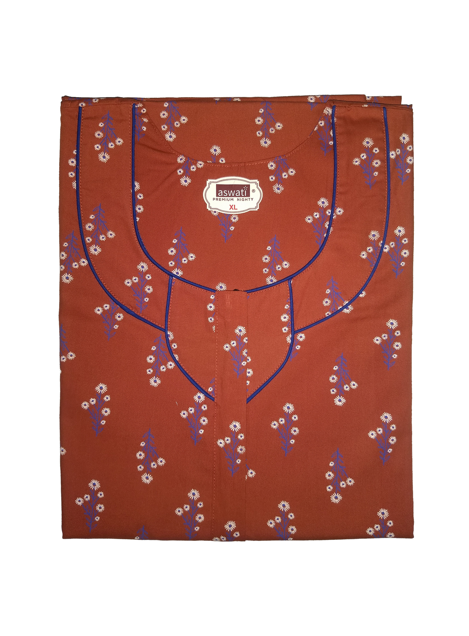 Premium Nighty (XL) - Brown With Floral Prints