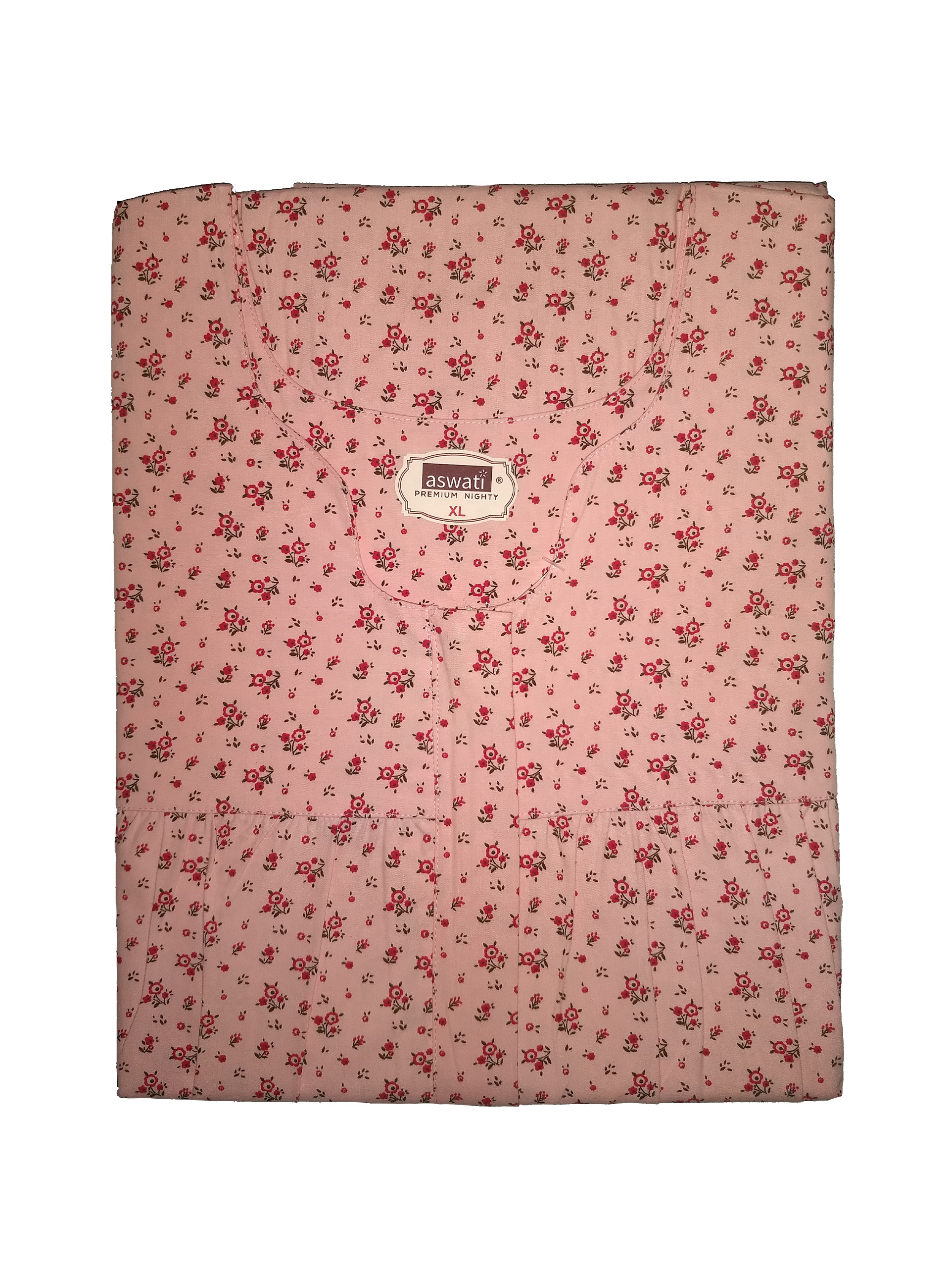 Premium Nighty (XL) - Pink With Floral Prints