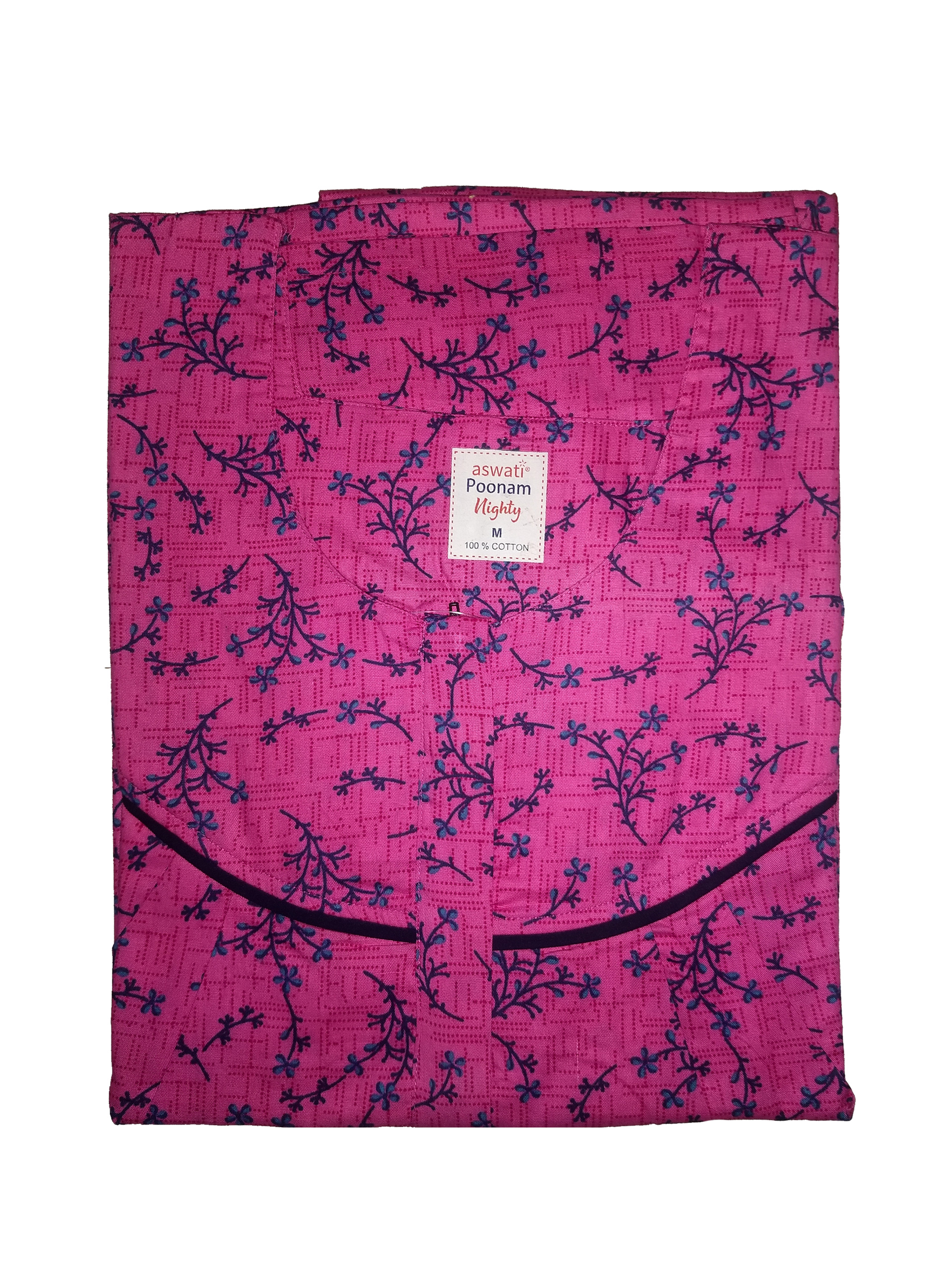 Poonam Nighty (XXL) - Pink With Floral Prints