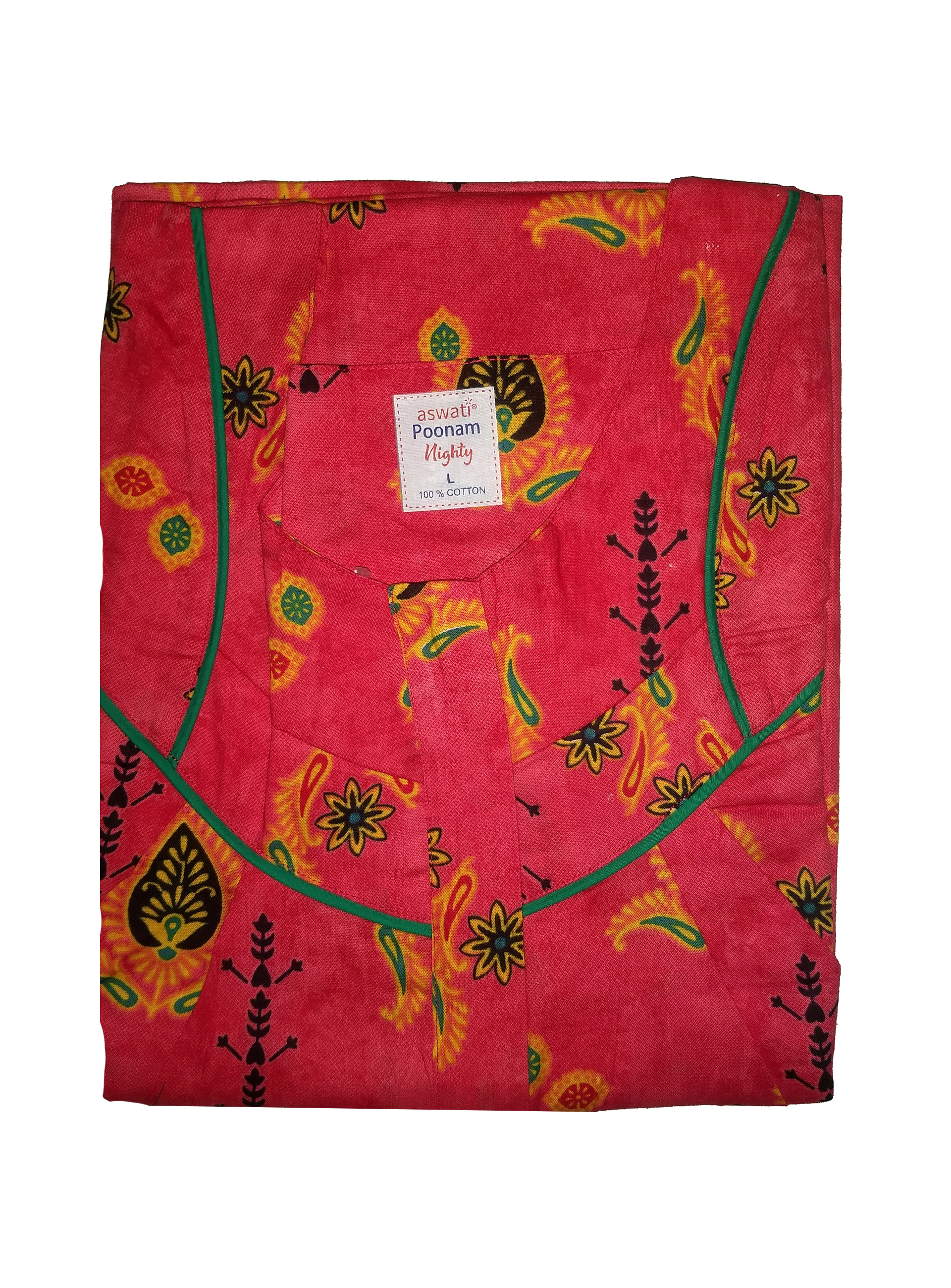 Poonam Nighty (L) - Red With Design Prints