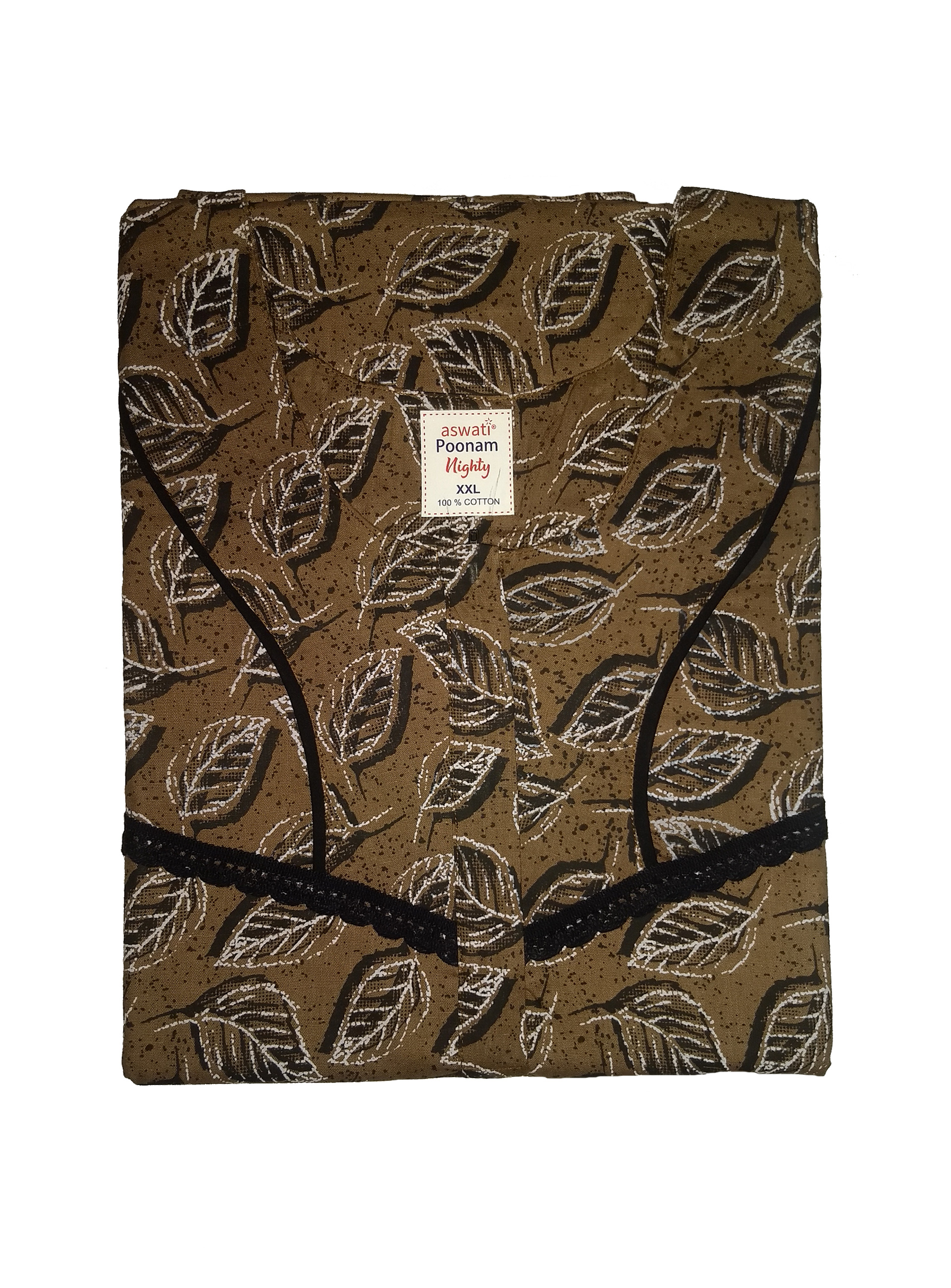 Poonam Nighty (XXL) - Brown With Leafy Pattern