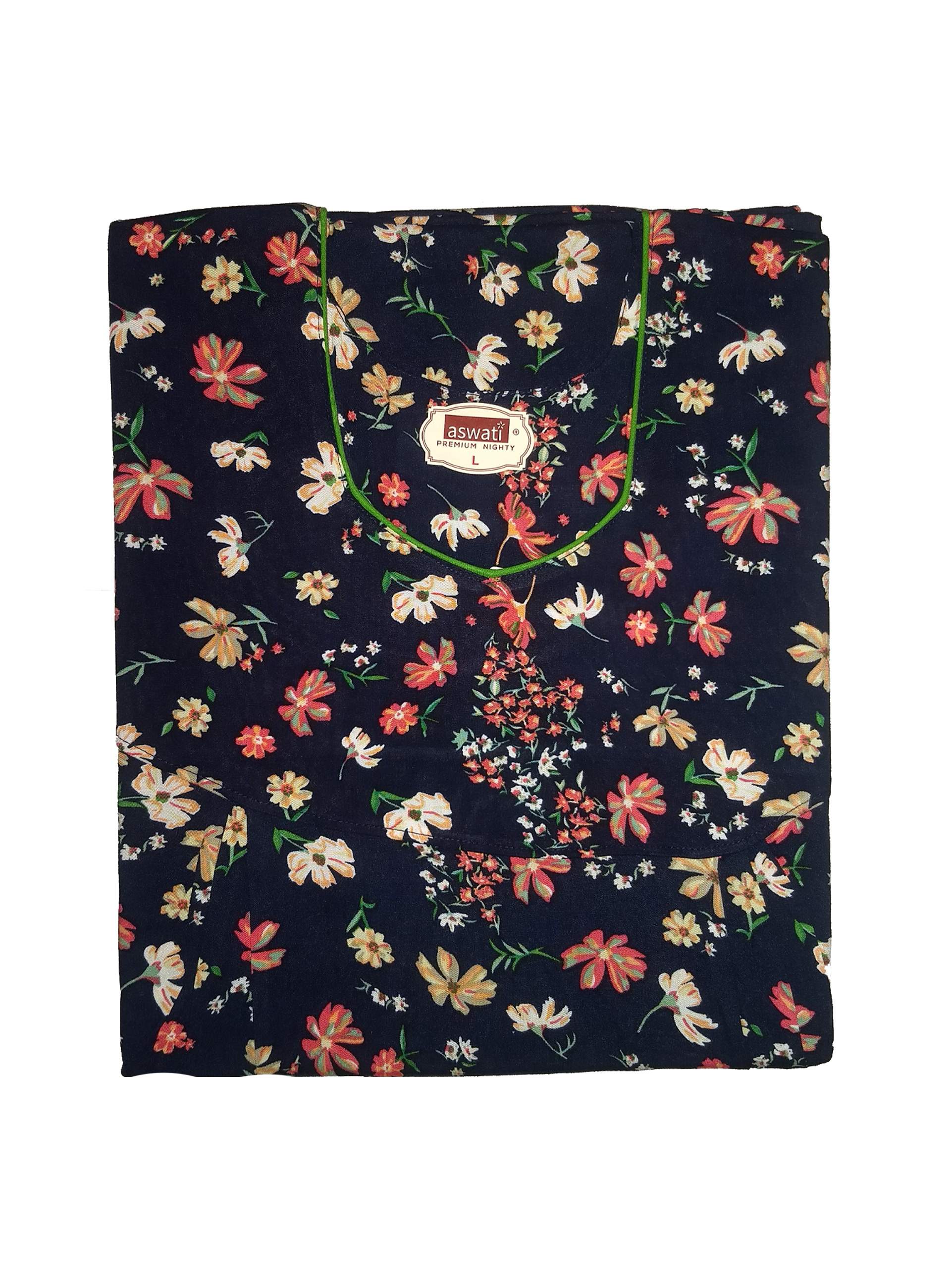 Premium Nighty (L) - Navy With Floral Prints