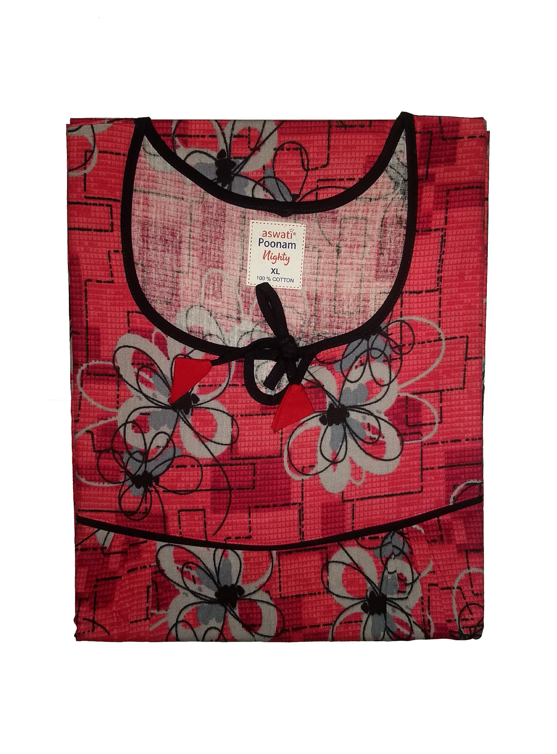Poonam Nighty (XL) - Red With Floral Pattern