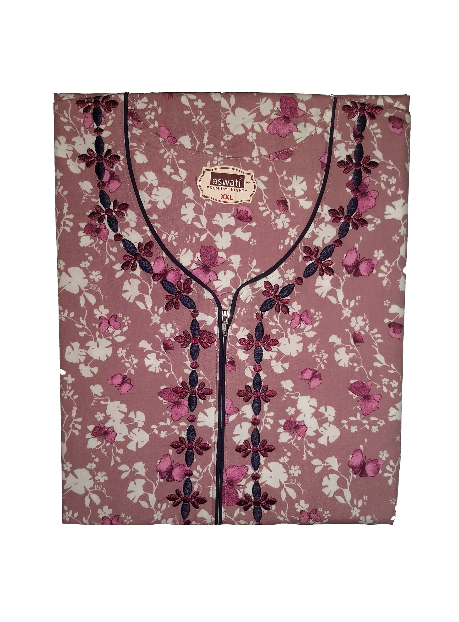 Premium Nighty (XXL) - Pink With Floral Embroidery