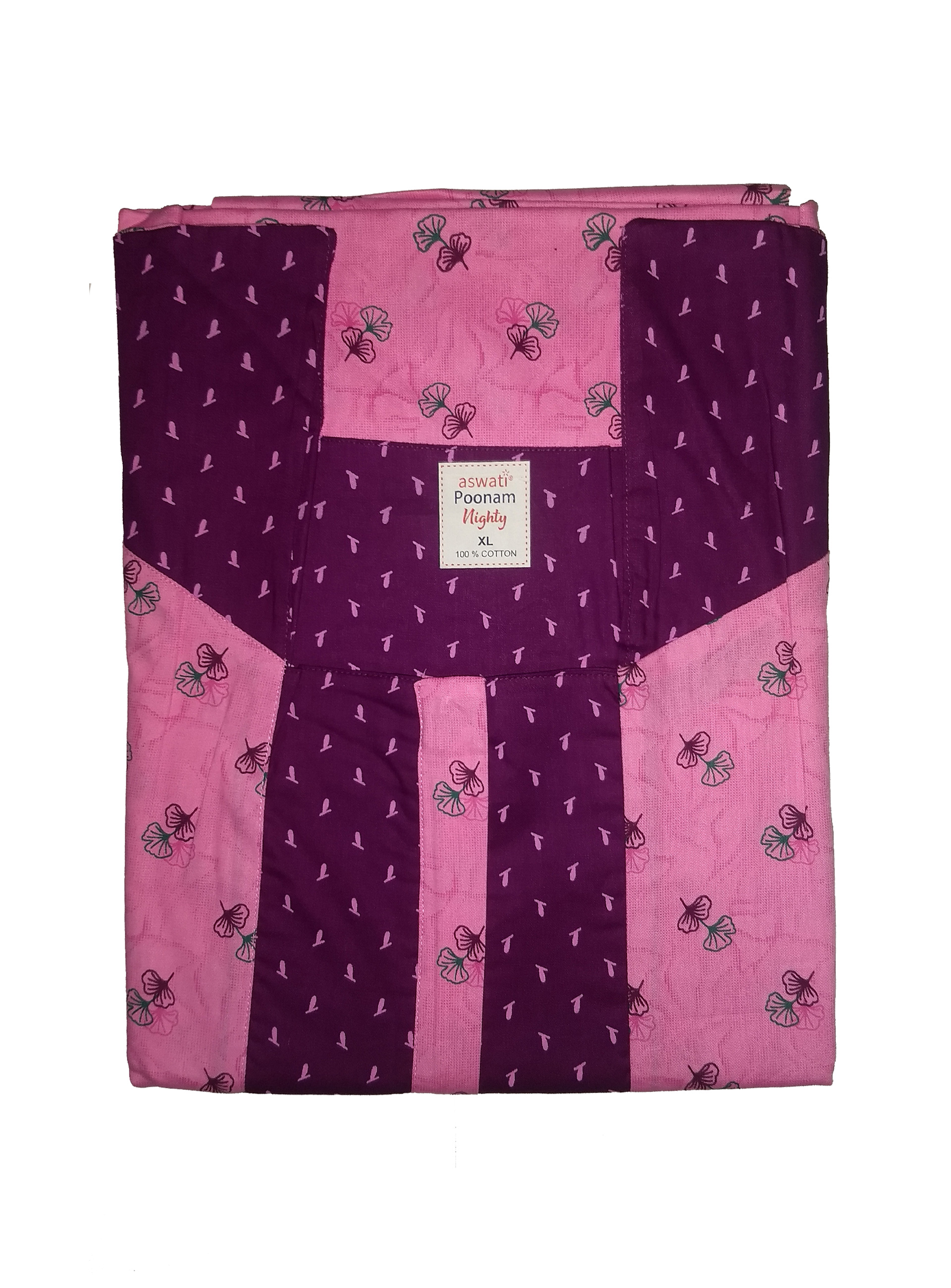 Poonam Nighty (XL) - Pink With Floral Pattern