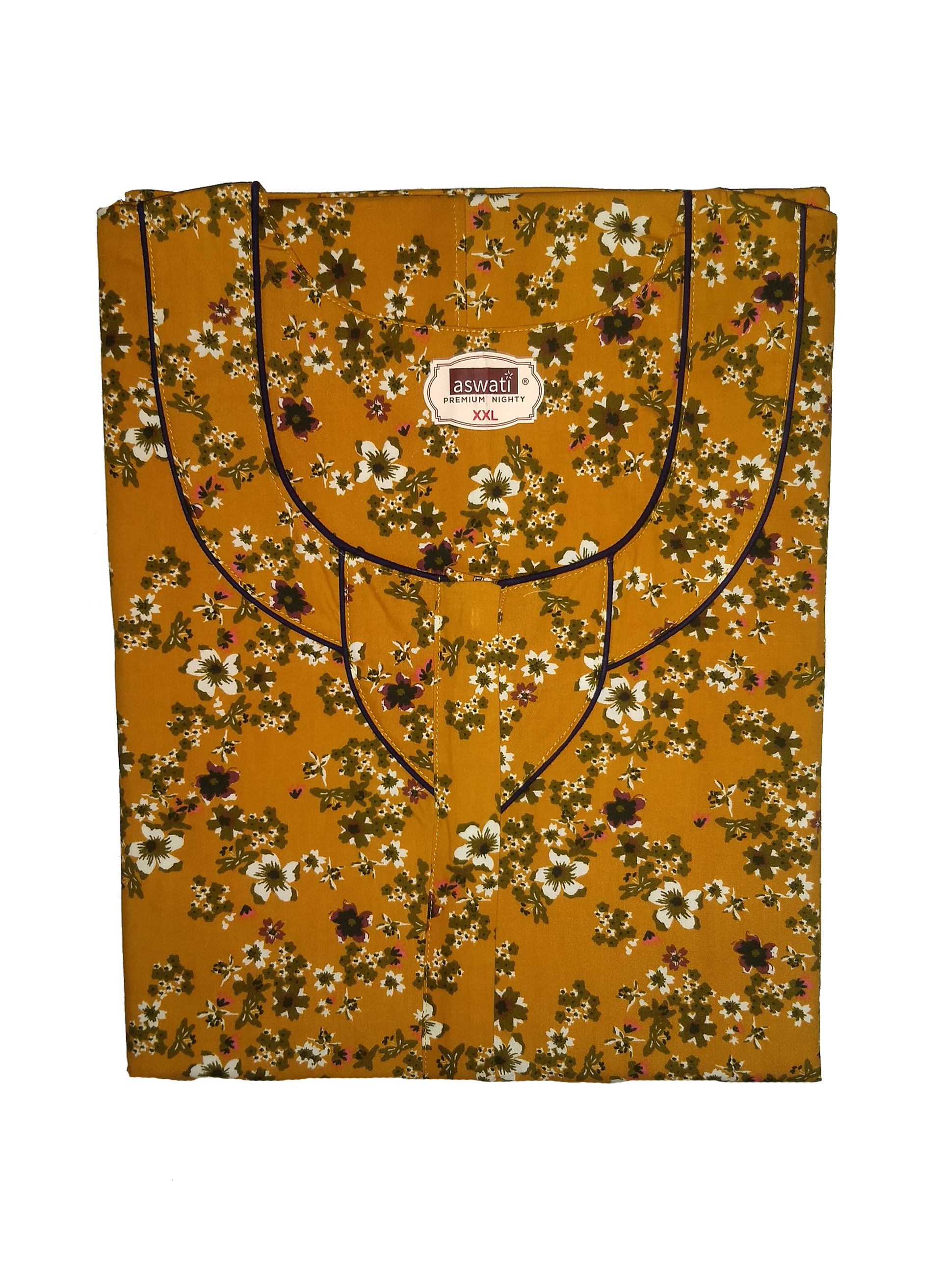 Premium Nighty (XXL) - Amber Colour With Floral Prints