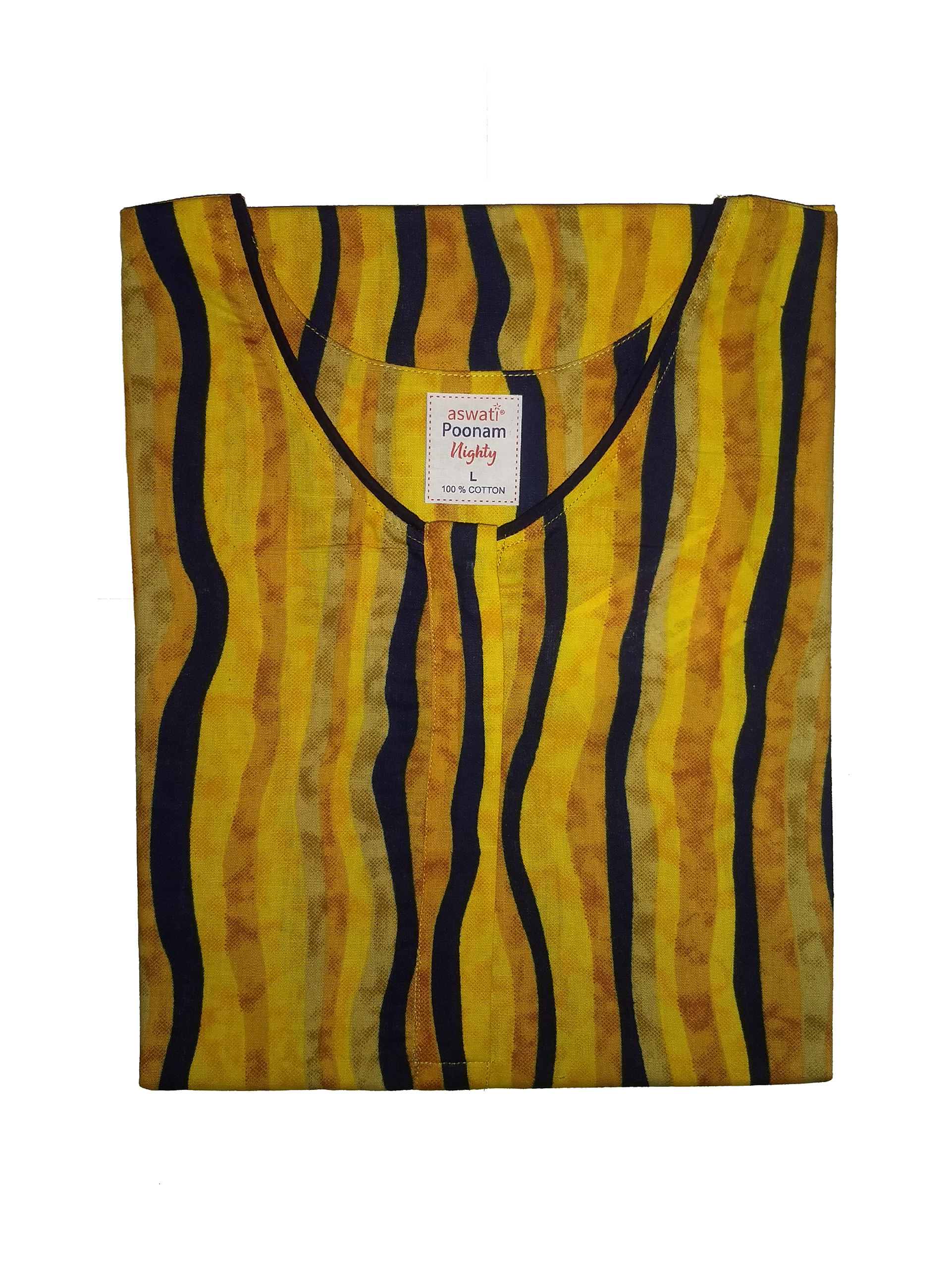 Poonam Nighty (L) - Yellow And Navy Striped Print
