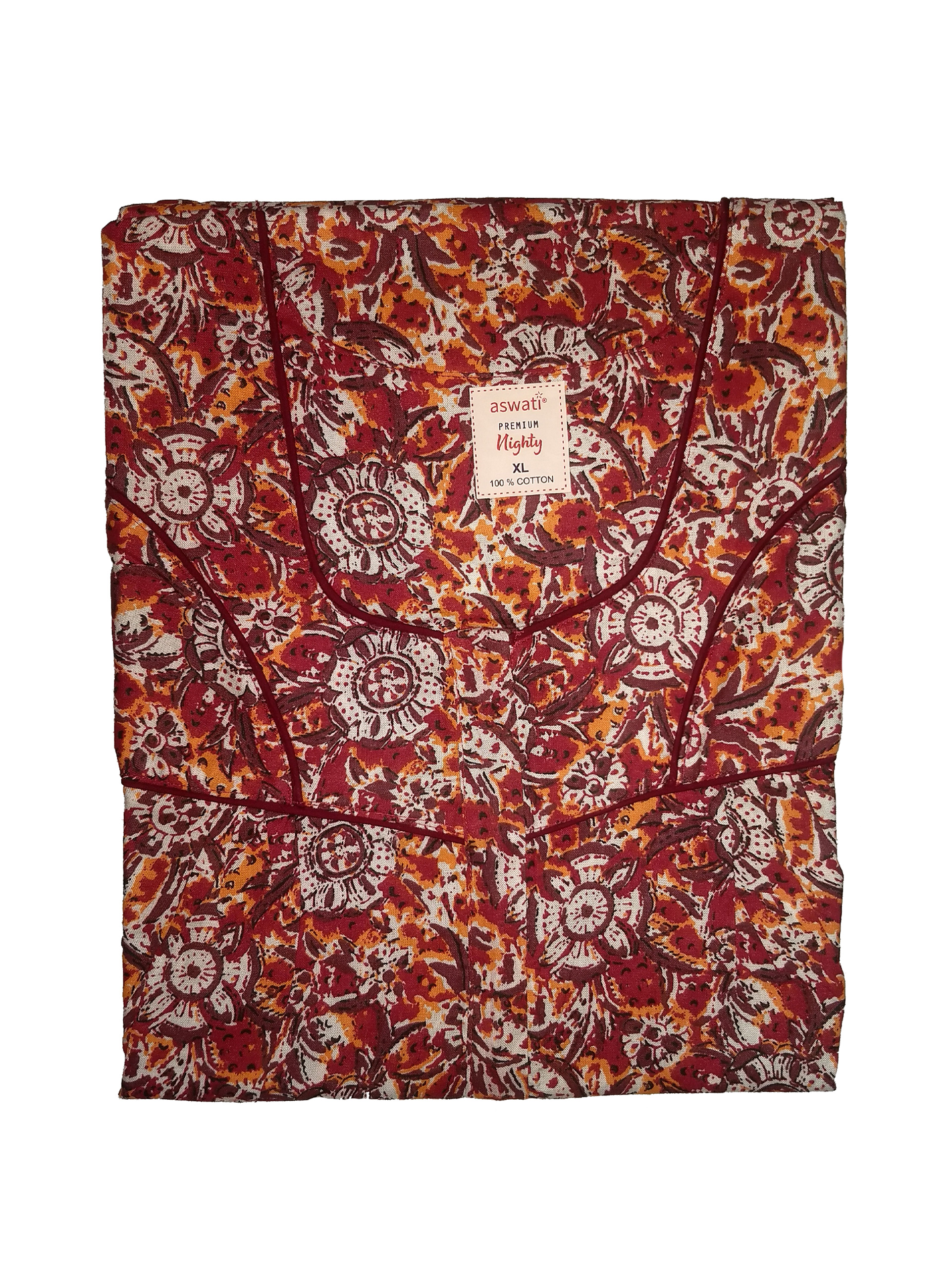 Premium Nighty (XL) - Maroon With Floral Prints